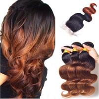 Ombre Color 1B 33 paquetes de cabello humano con cierre de encaje 4 piezas lote oscuro raíz marrón 3 paquetes con cierre de mujer negro