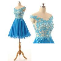 Дешевые Высокое качество Светло синий Короткие Homecoming платье с плеча бисером кружево Аппликация шампанского Тюль Zipper вверх Пром платья