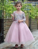 2017 new cheap Flower Girl Dresses organza jewel appliqued long Sleeves ankle length Princess Dress For Little Girls Toddler Pageant Gown