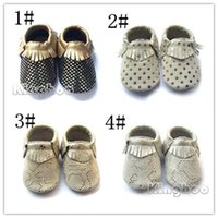 New kids baby fringe moccs, high quality genuine leather soft...