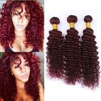 3Pcs Lot Deep Wave Burgundy Hair Bundles Color 99J Vino Rojo Profundo Rizado Virgin Indian Indian Human Weaves Extensiones 300G