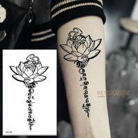 Atacado-Buddha Lotus projeta tatuagem temporária letras sânscrito palavra tattoos tibetanas costas henna perna braço da cintura ombro à prova d'água ZW036