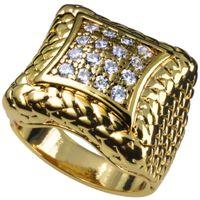 Heren 18K goud gevuld geschapen diamant engagement trouwring R105 maat 9-12