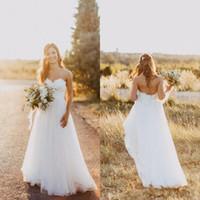 2020 Romantische Landstil Einfache Brautkleider Spitze Schatz Tüll Bodenlangen Backless Plus Size Brautkleid für Strandgarten