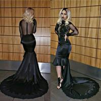 2K16 Negro manga larga de baile vestidos de noche Mermaid Hi-Lo Illusion Volver apliques moldeado 2017 Sexy Pageant vestido de fiesta Vestidos de desfile