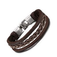 New Arrived Men Braided Leather Bracelet for Men Bangle Mult...
