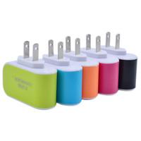 ABD AB Tak 3 USB Duvar Şarjları 5 V 3.1A LED adaptör Seyahat Cep Telefonu Için üçlü USB Portu ile Uygun Güç Adaptörü