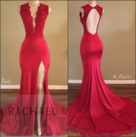 2019 Newest Deep V- Neck Backless Red Prom Dress Beads Front-...