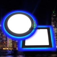 Doppi colori Slim Panel Panel Lights Blue + Cool / Warm White LED Plafoniera da incasso a soffitto rotondo quadrato acrilico 85-265V decorazione interna 9W 16W 24W