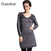 Gros- Clocolor long pull femme col V Loose Women Pull overs 2016 Gris trou Automne Hiver long pull Femmes Maille M