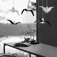 L48- Nordic Creative Seagull Pendant Lamp Black White Industr...