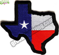 All'ingrosso Texas State Map Texas Flag ricamato Patch Iron on Armband Badge Army Tactical Military Biker Patch Patch accessorio fai-da-te