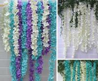 정원 홈 웨딩 장식 용품에 대한 2M 긴 슈퍼 긴 인공 실크 플라워 수국 등나무 화환 6 색상을 사용할 수