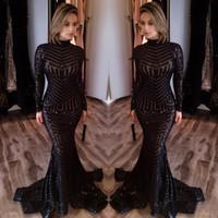 2019 Abiti da sposa a maniche lunghe Mermaid Bling Bing Bing Black Sequins High Neck Sexy Celebrity Gowns Abiti da sera Pageant Abiti da sera