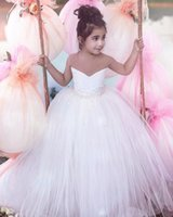 Princess White Flower Girl Dresses Ball Gown Tulle Sheer Nec...