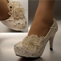 New Fashion white ivory pearl lace crystal Wedding shoes Bri...