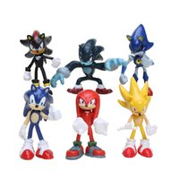 6 pçs / set Sonic The Hedgehog Sonic Sombra Caudas Knuckles PVC Action Figure Collectible Modelo Brinquedos
