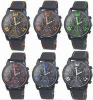 Wholesale 50pcs /ロットミックス6カラー男性原因スポーツミリタリーパイロットアビエーター陸軍シリコーンGT腕時計RW017