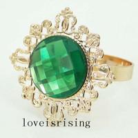 Gratis DHL frakt - 100st grön färg guldpläterad vintage stil servett ringar bröllop brud dusch servett hållare