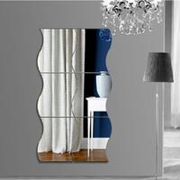 Etiqueta engomada de la pared del espejo 3D de plástico acrílico estéreo ondas en forma de calcomanías antiestáticas Pegatinas a prueba de moldes para la decoración del hogar 7LS BB