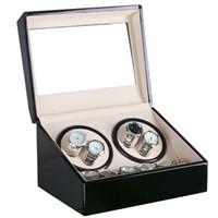 Plugue Global Use Black Superfície De Madeira Relógio Winder Caixa de Veludo Interno de Rotação Automática 4 + 6 Relógio Winder Armazenamento Caso Display Relógio Winder Box