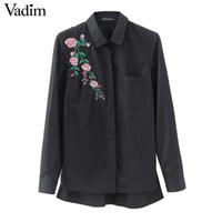 レトロな花の刺繍ストライプブラウス長袖黒いシャツを折りたたむブランドレディーストップスBlusas LT1511