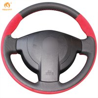 Mewant Red Suede Black Genuine Leather Car Steering Wheel Co...