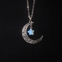 Antike Silber Halbmond Halbmond und natürliche Quarz Stern Halskette Opal grün Jade Türkis Tigerauge Edelstein Mom Halskette Geschenk für Sie