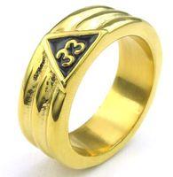 8MM العرض صب 316L الفولاذ المقاوم للصدأ الذهبي الماسونية الماسونيين المثلث رمز الدائري SZ # 8-13 ، الماسونية الحرة والمقبولة