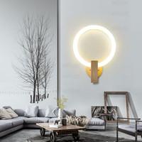 lune rond LED applique murale PMMA acrylique lampe lampe base en bois luminaire design moderne salon hôtel restaurant chambre vanité lumière