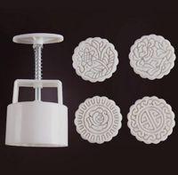 125g runde form traditionelle blume mond kuchen formen mit 4 stempel kunststoff hand druck chinesischen mond kuchenform, 5 sätze / los.