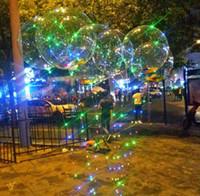 22inch leuchtende geführte Ballon-bunte transparente runde Luftblasen-Dekorations-Partei-Hochzeits-Ballone, die in der dunklen 3M Schnur beleuchten freies Verschiffen