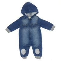 Baby Boys Romper Denim Hooded Long Sleeve Patch Cotton Sprin...