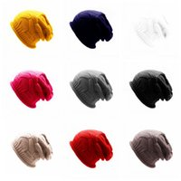 For Men And Women Knitted Hat Solid Colors Wool Hedging Caps...
