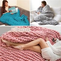 Xmas Chunky Knitted Thick Blanket Hand Bulky Knit Throw Sofa...