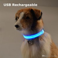 D32 USB Rechargeable pet dog cat collar led lights nylon col...