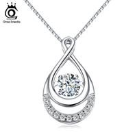 ORSA ювелирные изделия твердые 925 серебряные ожерелья женщин двойной Бесконечности педанты с подвижной Кристалл вечности ювелирные изделия SN50