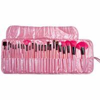 고품질! Professional 24 pcs 메이크업 브러쉬 세트 가죽 파우치로 매력적인 핑크 / 블랙 화장품 아이 섀도우 브러쉬 FREE DHL
