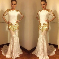 2017 Sexy White Lace Prom Dresses with Gold Appliques Half S...