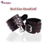 Sex HandCuffs Black Leather Redline bondage restraints Foot ...