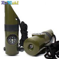1pcs 7 en 1 multifonctionnel militaire Kit de survie loupe sifflet boussole thermomètre LED lumière