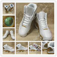 Hot New retro 13 DMP White Metallic Gold mens Basketball Sho...
