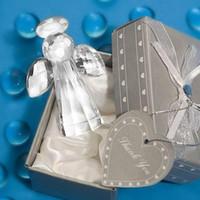 Baptismo Lembranças Presente de Retorno Anjo de Cristal Estatuetas para a Festa favor do Chuveiro de Bebê presente de Baptizado Frete grátis 100 pcs