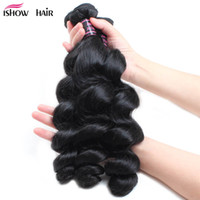 Ishow Wholesale 8A Loose Wave Virgin Hair Bundles 3Pcs Brazilian Peruvian Indian Malaysian Extensions for Women All Ages 8-28 inch Jet Black