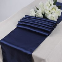"""Wholesale-新しい10ピースネイビーブルーサテンテーブルランナー12 """"x 108""""結婚披露宴の装飾"""