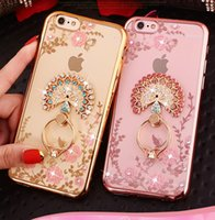 Luxury Bling Diamond Ring Holder Phone Case Crystal TPU Cove...