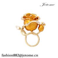 100pcs / lot 2017 Chine Wholesale Luxe Rose Fleur Porte-Lunettes Cristal Broches Broche Travail ID Titulaire pour Chemise
