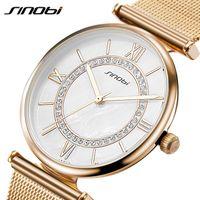 SINOBI Súper Delgado de Acero Inoxidable de Malla de Acero Inoxidable Relojes Mujeres Top Marca de Lujo Reloj Casual Mujer Reloj de Pulsera Señora Relogio Feminino