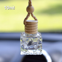 10ML شنقا سيارة زجاجات العطور قلادة قلادة زينة زجاجة فارغة مربع زجاجة مستحضرات التجميل زجاجة عطر بالجملة