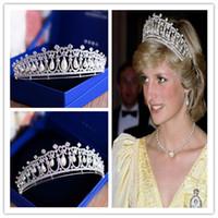 Princesa Rainha Diana Coroa Tiara Do Vintage Do Casamento de Cristal Rhinestone Acessórios Para o Cabelo de Água Doce Pérola Zircon Cocar Jóias de Prata